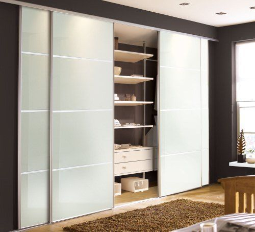 How To Make Built In Wardrobes With Sliding Doors: 2 Door Soft White Glass Silver Framed 4 Panel Sliding