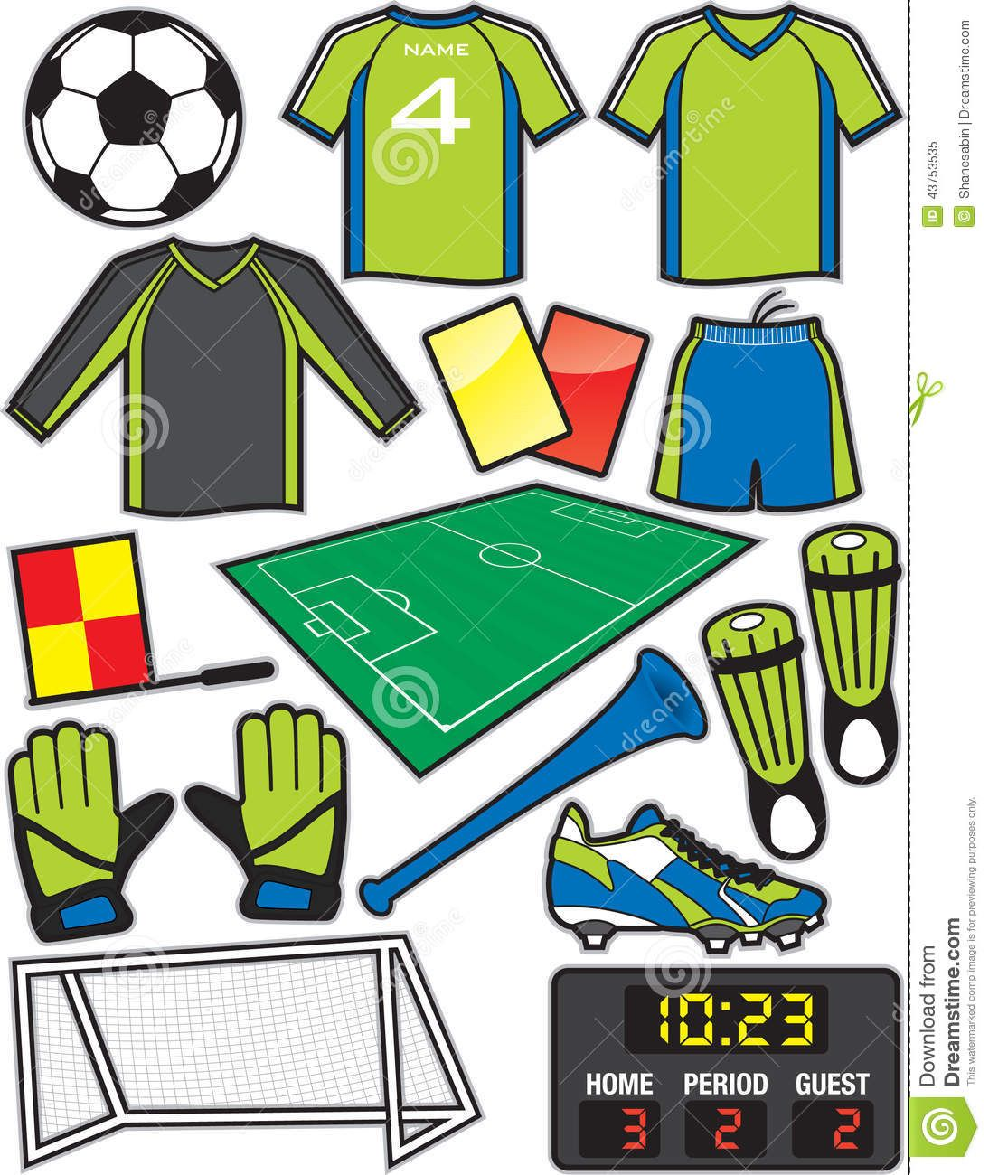 Illustration About Items Equipment Used In The Sport Of American Soccer Or Football Illustration Of Guard Field Competitive Football Themes Soccer Football