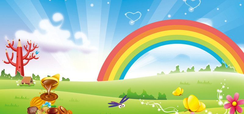 Cartoon Rainbow Grass Sky Happiness And Warmth Banner Spanduk Kartu Nama Pelangi
