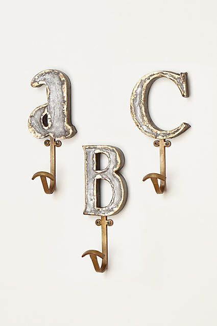 Anthropologie Ceramic Alphabet Wall Hooks by Molly Hatch Home Decor Blue White