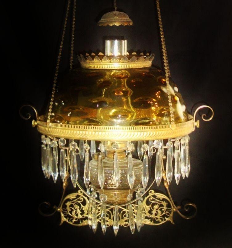 19c Victorian Aesthetic Bullseye Hobnail Shade Hanging Oil Kerosene Lamp Chandelier Pull Down Light Fixture Eastlake Antique