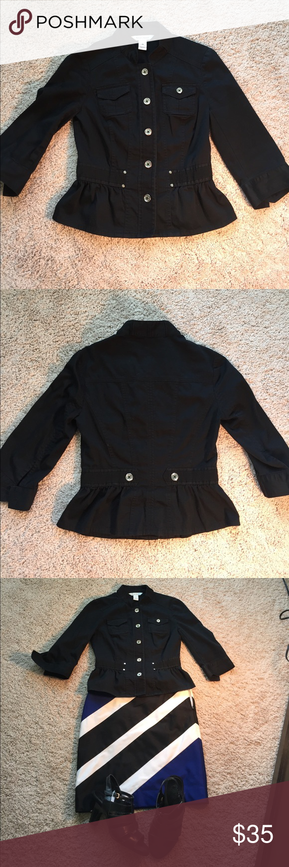 WHBM black Blazer military style 3/4 sleeve Super cute WHBM black blazer, simply would not grow with me, sad to see it go. Big silver buttons in front and back, throw it on over anything and go. Fits small, so perfect for your teenager or a small person. White House Black Market Jackets & Coats Blazers