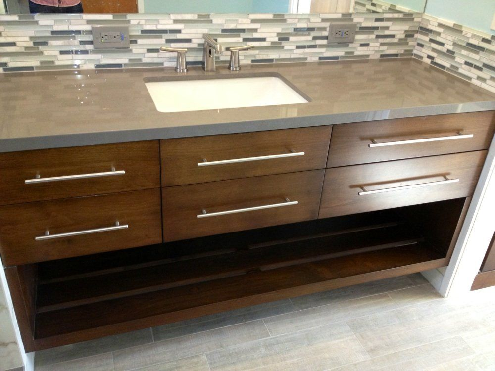 Custom Hand Built Walnut Wood Floating Vanity 74 With Concrete Gray Quartz Countertop And Toto