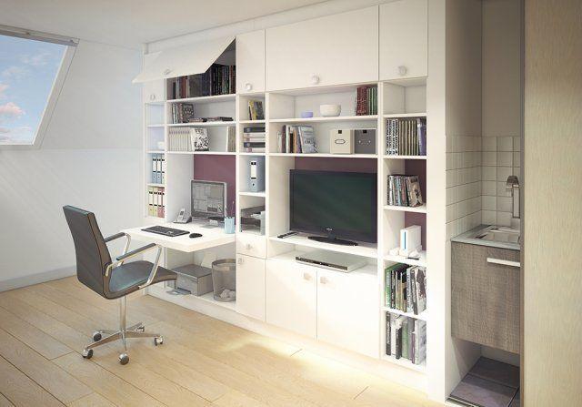 Idee Studio Creation D Un Espace Bureau Salon Et Bibliotheque Avec Les Amenagement Bibliotheque Avec Bureau Integre Meuble Rangement Salon Bureau A Domicile