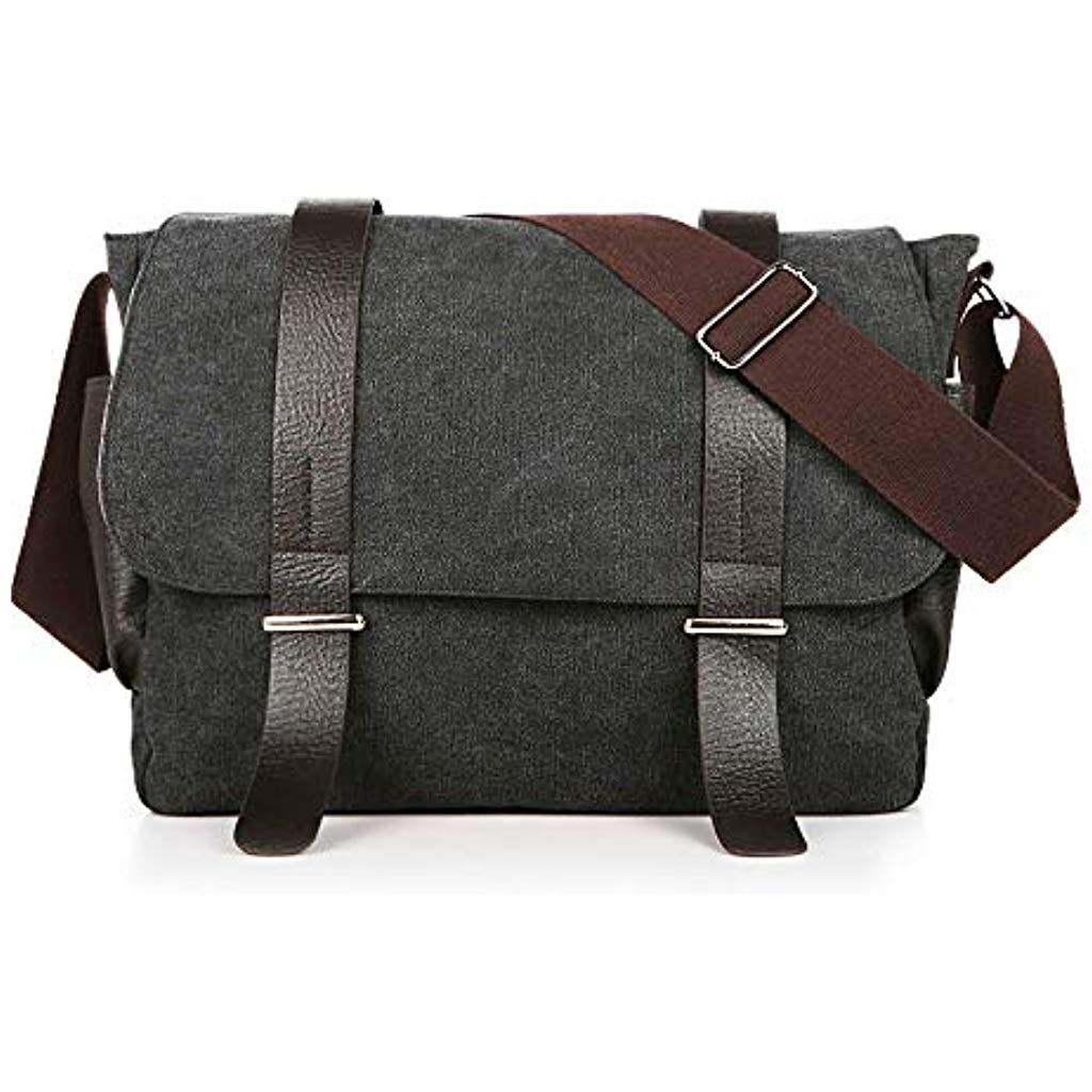 a36ce4550a Men Messenger Bag Canvas Vintage Shoulder Bag Cross Body Satchel 14 Inches  Laptop Computer Padded Water Resistant for Work School Men Women  messenger  ...
