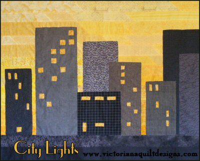 City Lights Quilt Pattern  http://www.victorianaquiltdesigns.com/VictorianaQuilters/PatternPage/CityLights/CityLights.htm #quilting