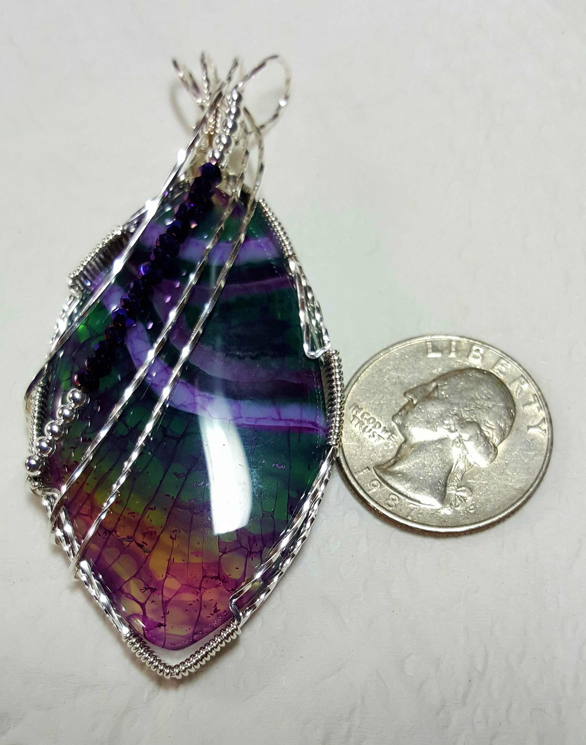Dragon Veins Fire Agate wrapped in Sterling Silver with Silver plated and Chinese Crystal beads By Toribeth Designs