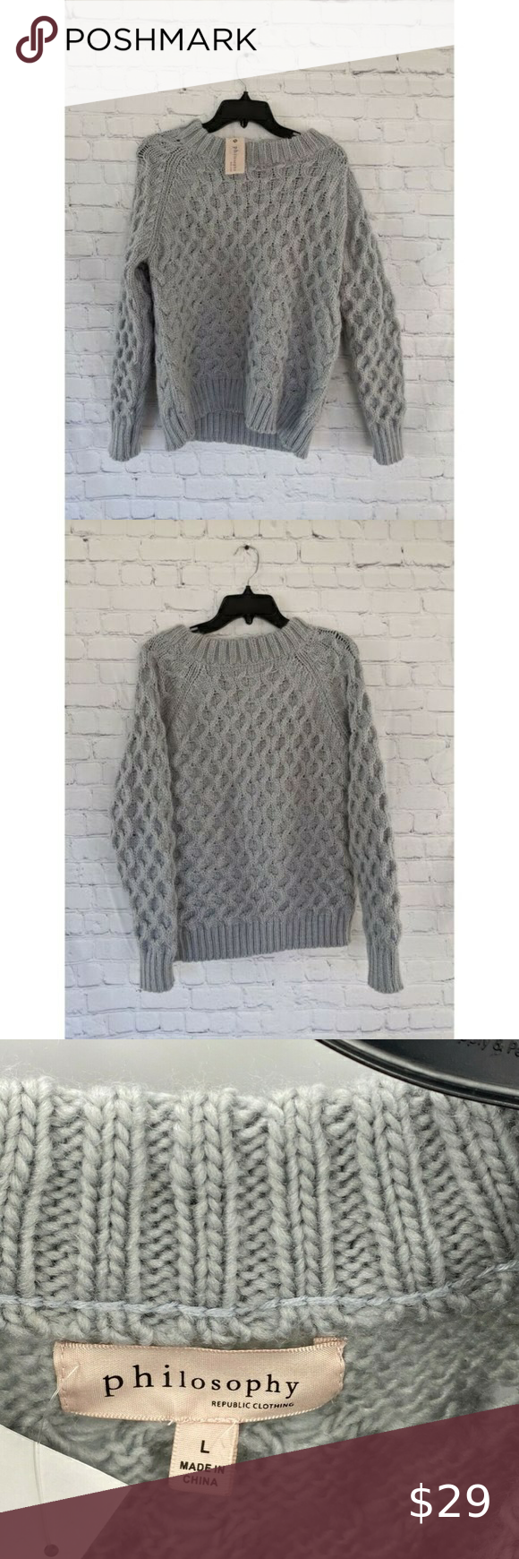 Philosophy Gray Cable Knit Permafrost Sweater L In 2021 Grey Cable Knit Leopard Print Sweater Cable Sweater