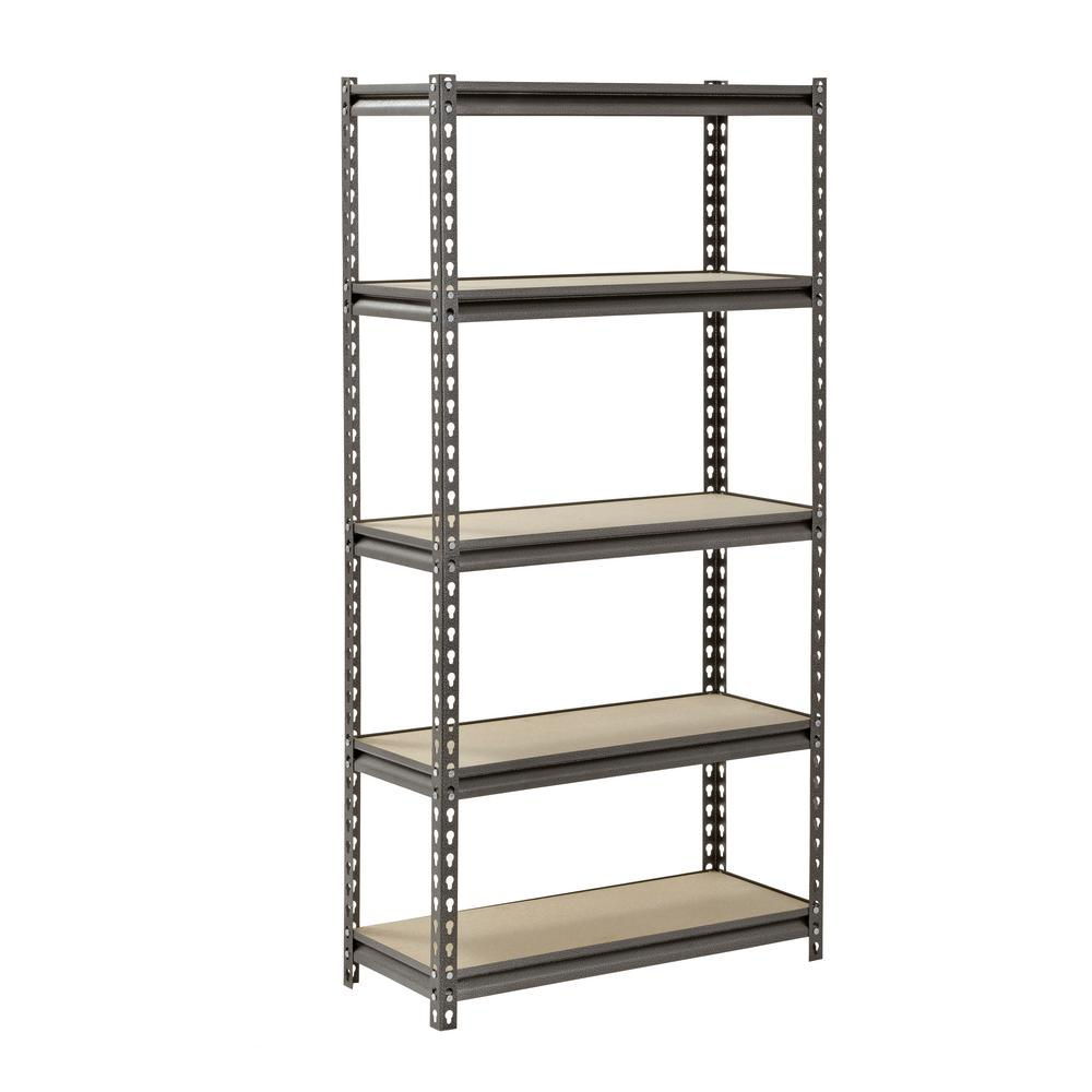 Muscle Rack Z Beam Silver 5 Tier Boltless Steel Garage Storage Shelving Unit 30 In W X 60 In H X 12 In D Ur301260pb5p Sv The Home Depot Steel Shelving Steel Shelving Unit