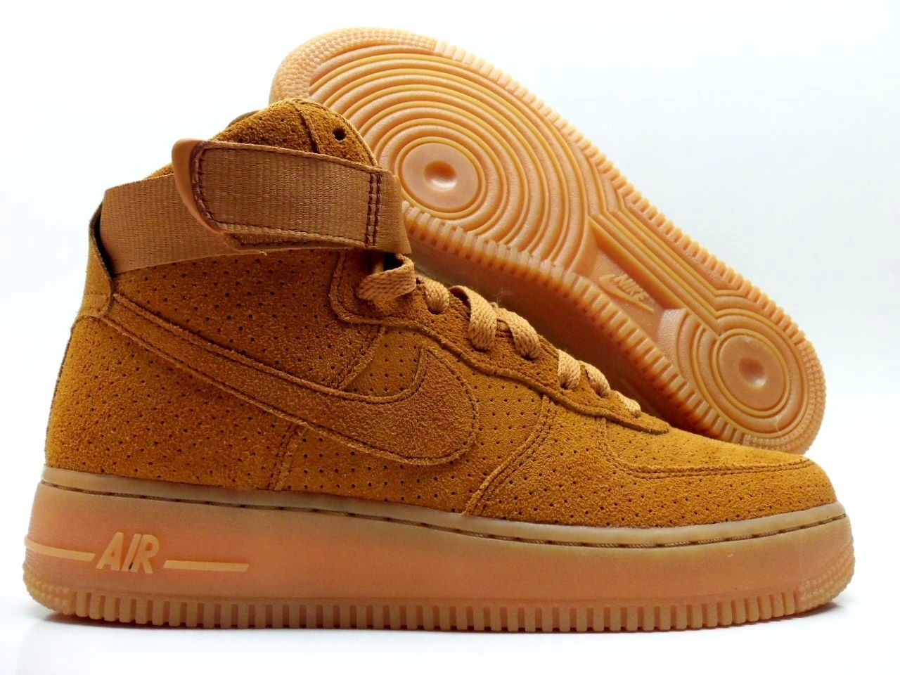 online retailer b66ca 638aa NIKE AIR FORCE 1 HIGH SUEDE TAWNY BROWN 749266 201  115
