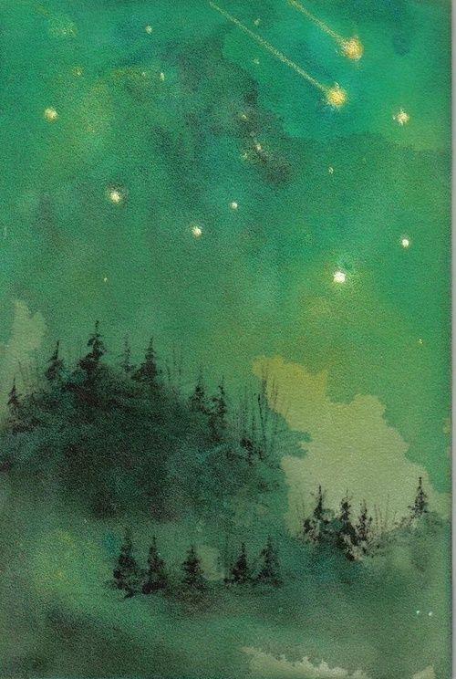 Watercolor Night Sky Http Paintmyworldrainbow Tumblr Com Post 26683607465 Watercolor Painting Watercolor Paintings Watercolor Landscape Landscape