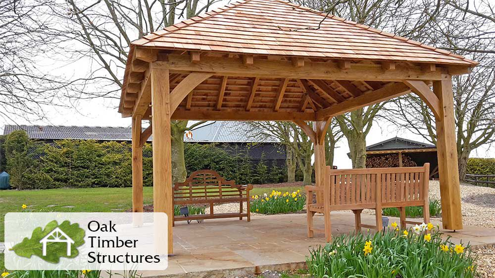 Solid Oak Garden Gazebo With A Cedar Shingle Roof 200mm X 200mm Oak Posts And Plates Along With Curved Oak Braces All Supplied Gazebo Oak Gazebo Gazebo Plans