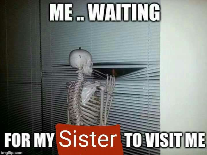 Funny Memes For Sisters : Me waiting for my sister to visit funny funny