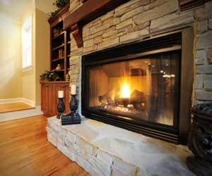Brick fireplace and Gas fireplace