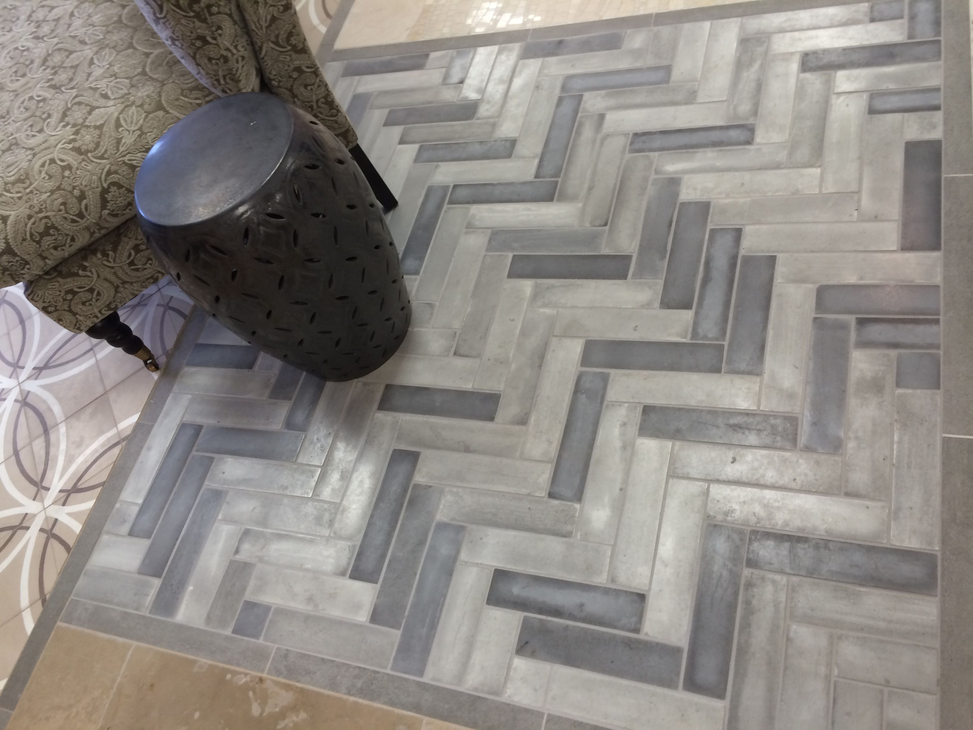love this concrete tile installation in our chantilly, va showroom