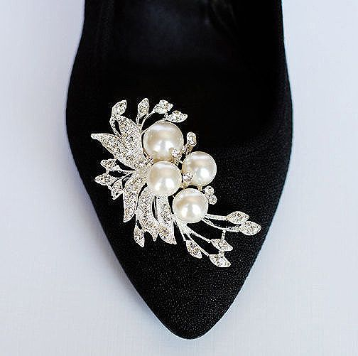 Bridal Shoe Clips Pearl Crystal Rhinestone Wedding Party Set Of 2 Bellini Collection Sc020lx