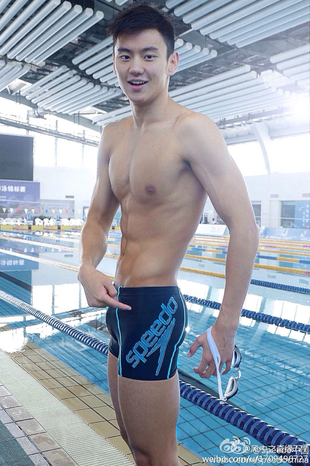 Chinese guys swimming