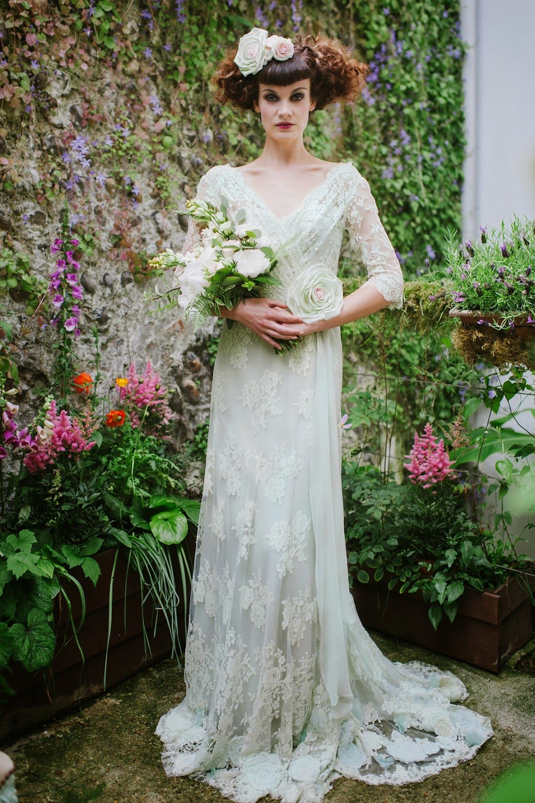 Green and white wedding dress  Joanne Fleming Design uLangtryuafoam French lace and silk