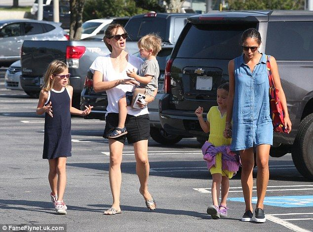 Doting mother: The actress was joined by her children Violet, left, Samuel and Seraphina a...