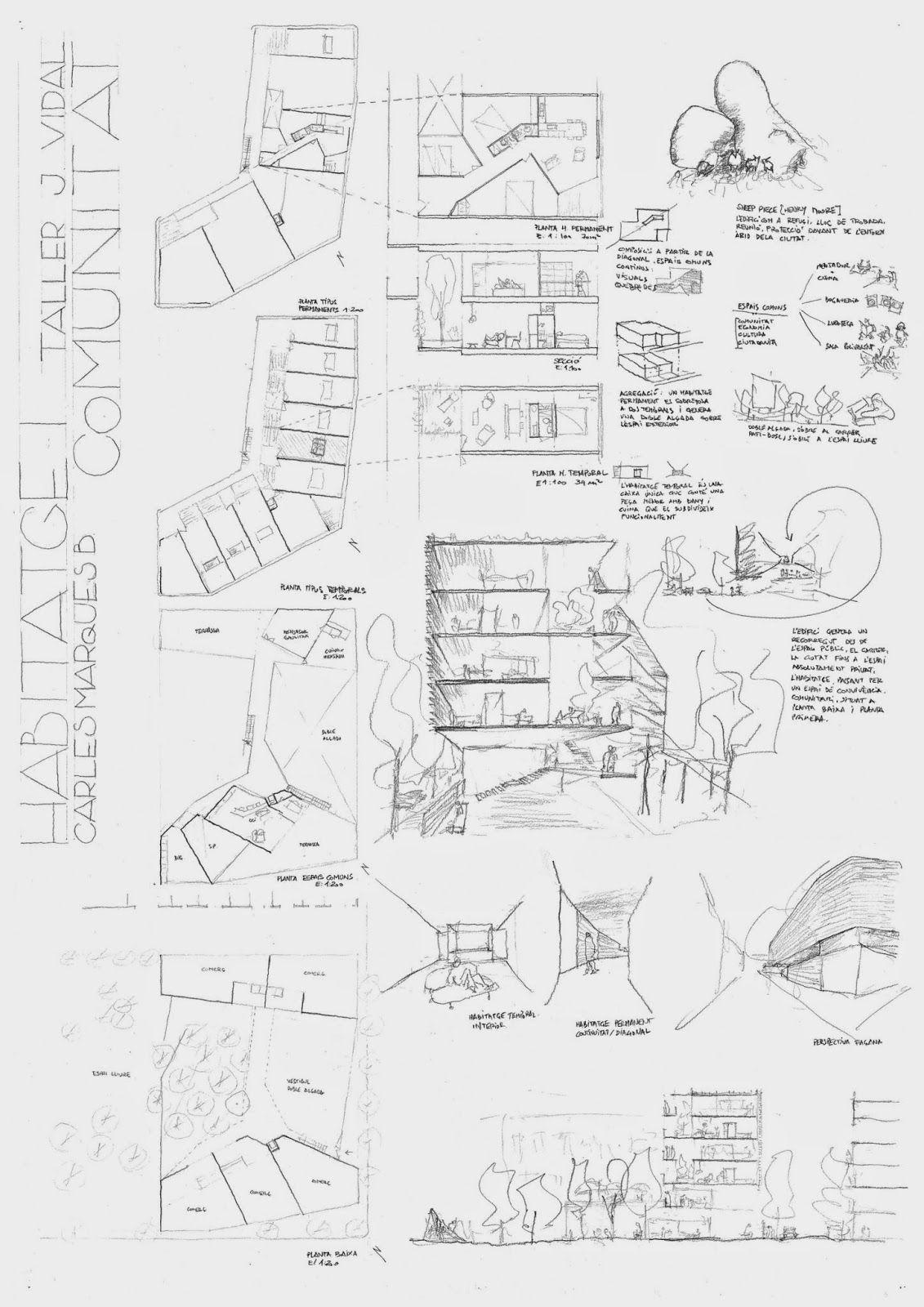 Lamina Dibujada A Mano Alzada De Un Proyecto De Arquitectura Cuaderno De Un Estudiante De
