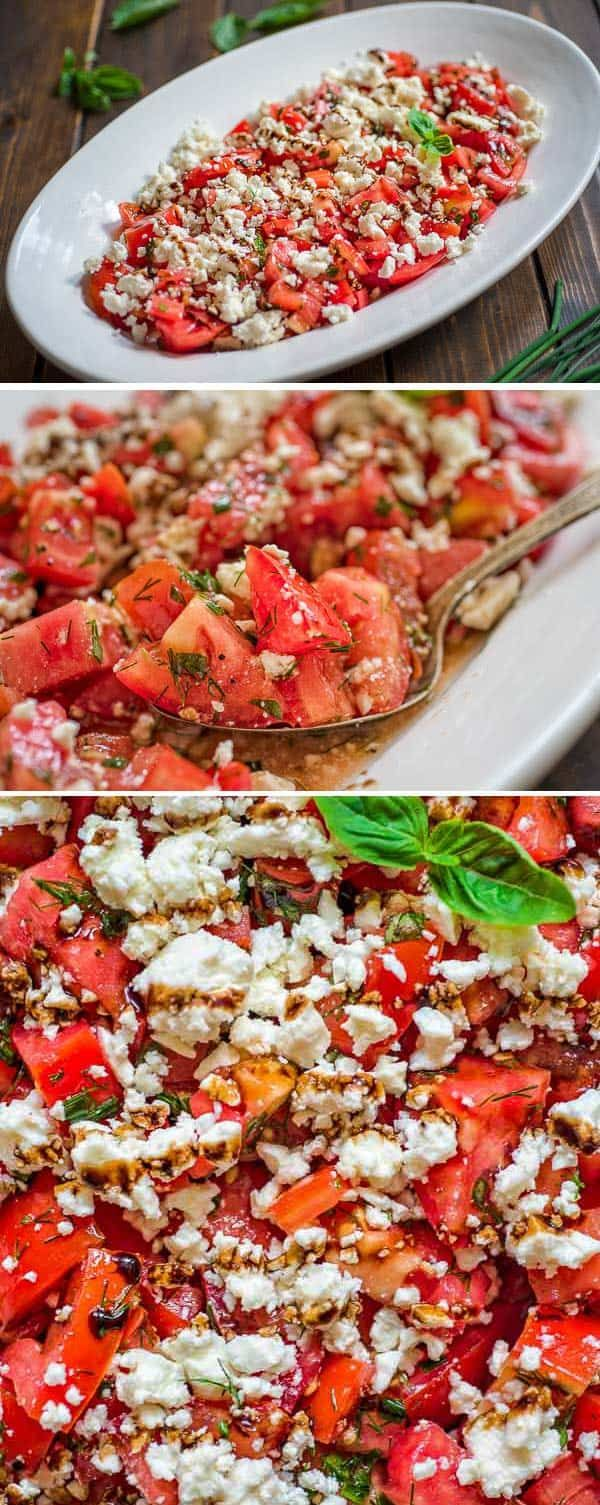 Tasty and simple Tomato Feta Salad made with fresh herbs, succulent tomatoes, creamy feta cheese and a touch of balsamic reduction.