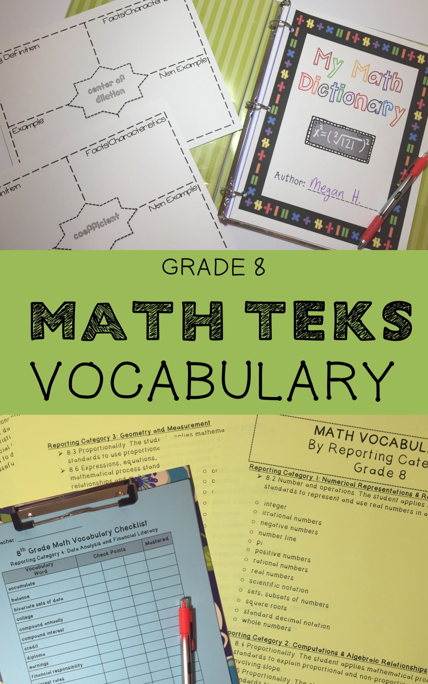 8th Grade Math Vocabulary Teks Aligned Vocabulary By Staar Reporting Categories And Knowledge And Skills Use For Math Math Notebooks Secondary Math Classroom [ 2249 x 1406 Pixel ]