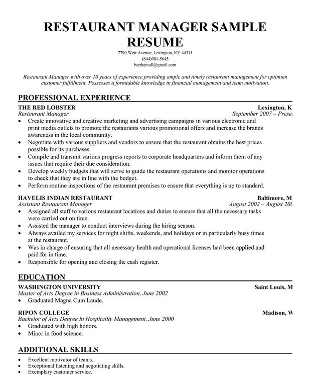 Restaurant Manager Resume Template job food + beverage Manager