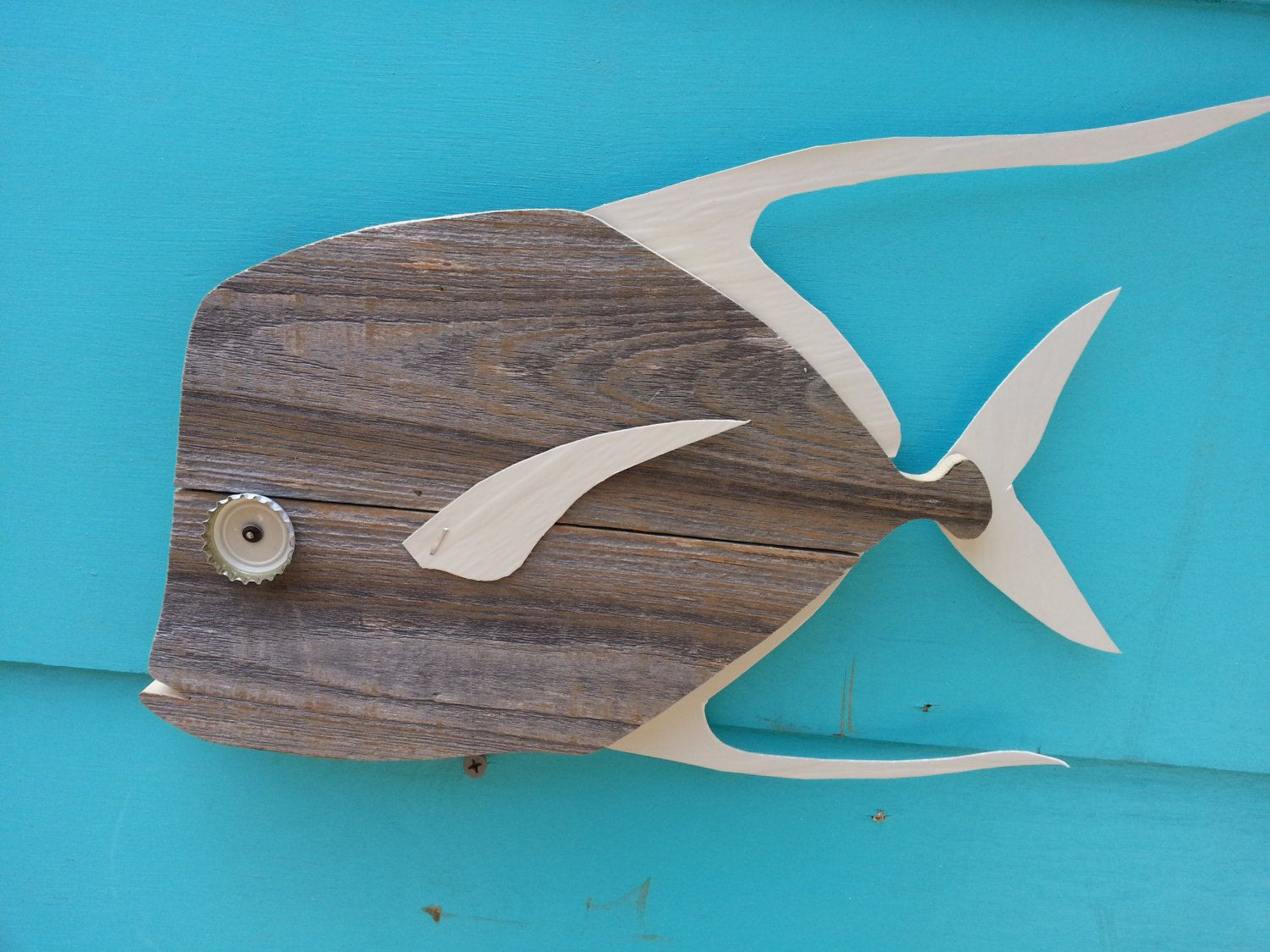 Lookdown made of recycled fence wood. Fish art decor. $28.00, via Etsy.
