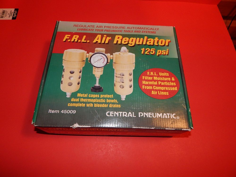 Central Pneumatic F.R.L. Air Regulator 125psi Item #45009 New in Box