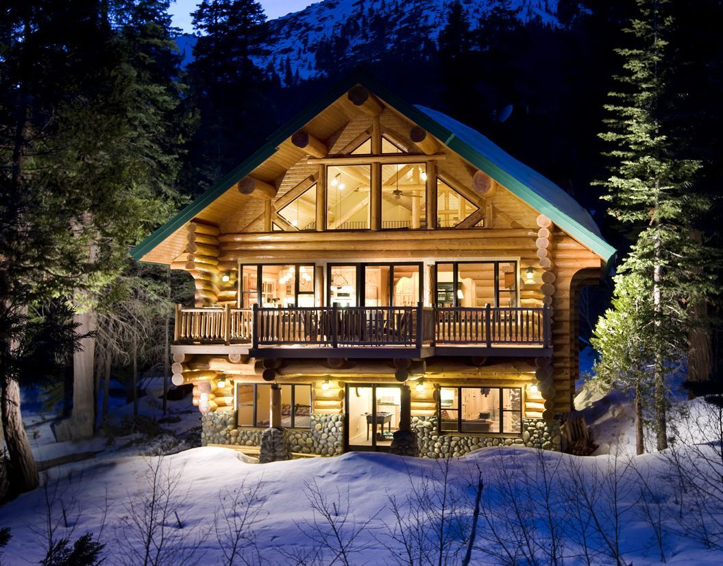 Log cabins for the winter log cabin wallpapers log for Chalet log homes