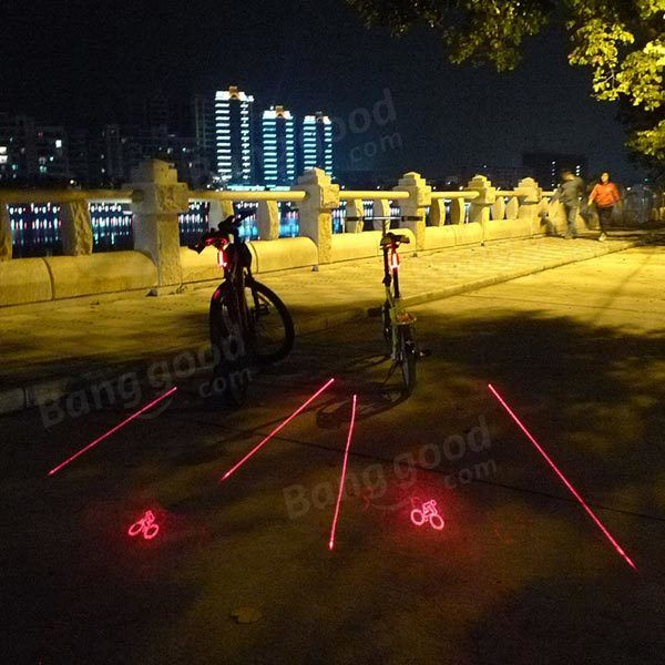 LOGO Projection Version Bicycle Rear Tail Lamp 5 LED 2Laser Cycling Bike Light