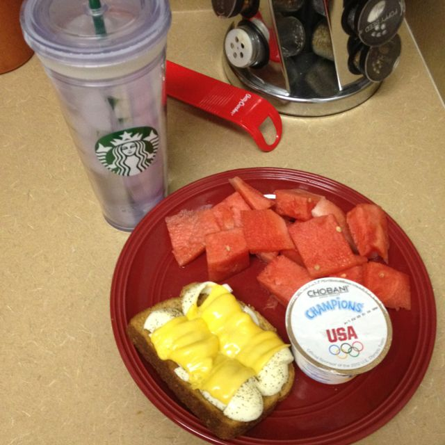 7pt breakfast: 2 cups of watermelon, 1 slice toasted double fiber bread, 2 hard boiled egg whites, 1 slice melted Kraft 2% American cheese, 1 chobani champions honey-nana Greek yogurt (taking this to work, no more room in my belly to eat right now)