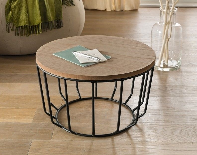 Beistelltisch modern look aus holz metall 50x29cm rund - Retro wohnzimmertisch ...