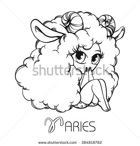 Zodiac: ARIES astrological sign. Vector illustration of a