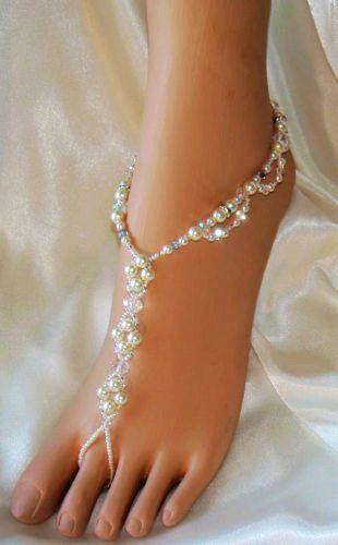 Sophisticated Lady Jeweled Barefoot Sandals Destination Beach