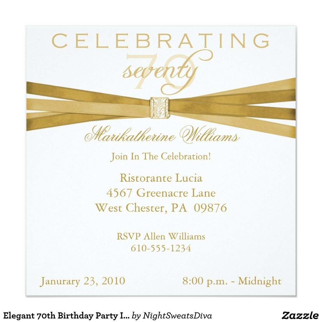Elegant 70th Birthday Party Invitations | 70 birthday parties, 70 ...