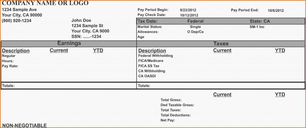 Quickbooks Pay Stub Template Template Business Payroll