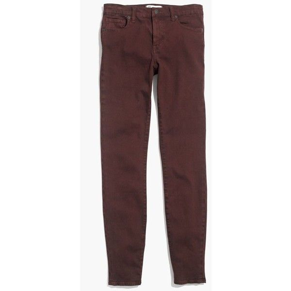"""MADEWELL 9"""" High Riser Skinny Skinny Jeans: Garment-Dyed Edition ($128) ❤ liked on Polyvore featuring jeans, chocolate raisin, fitted skinny jeans, sexy jeans, denim skinny jeans, fitted jeans and madewell jeans"""