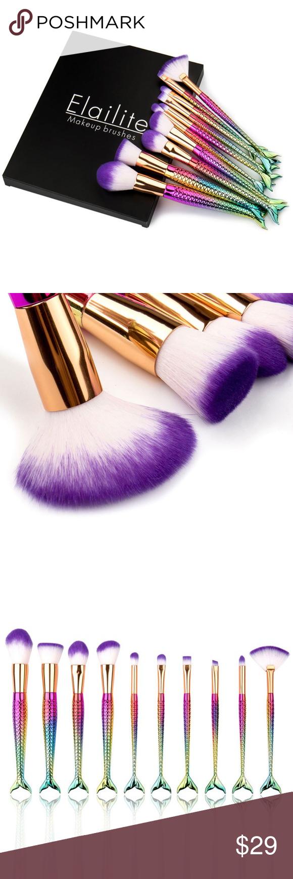 10Pcs Unicorn Mermaid Makeup Brush Set w/ Box Boutique