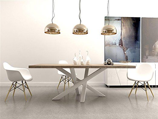 Stahlgestell Tischgestell Esstisch Modern Tischfuß Industriedesign  Holztisch RAL Tischuntergestell Tischkufe (Weiß): Amazon.