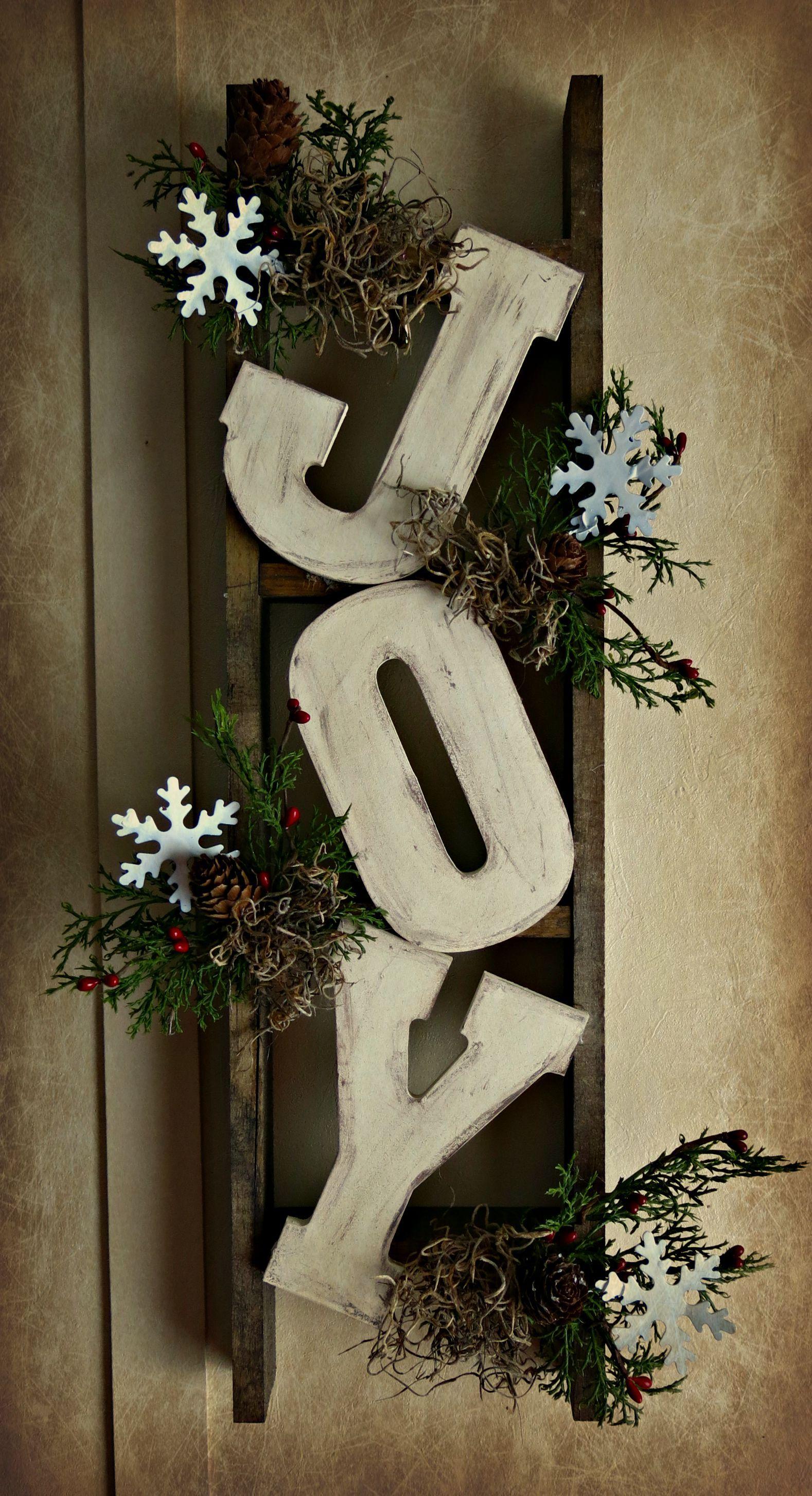 Christmas ladder rustic glam christmas pinterest craft