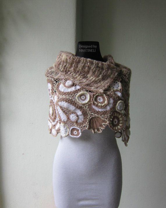 Ivory Beige Crochet Shawl, Freeform Crochet, Irish Crochet, Bolero ...
