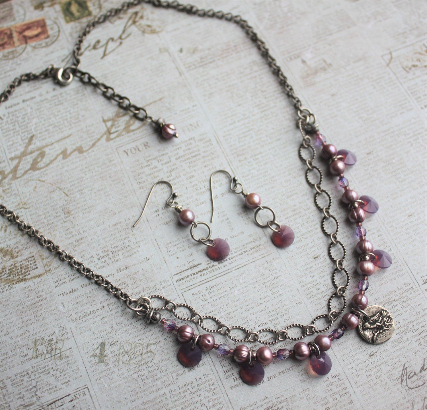 a5af4437edec Rustic Romantic Purple Dangle Necklace Swarovski Crystal and Pearl Necklace  Bird Charm Necklace Shabby Chic Necklace Gift For Her