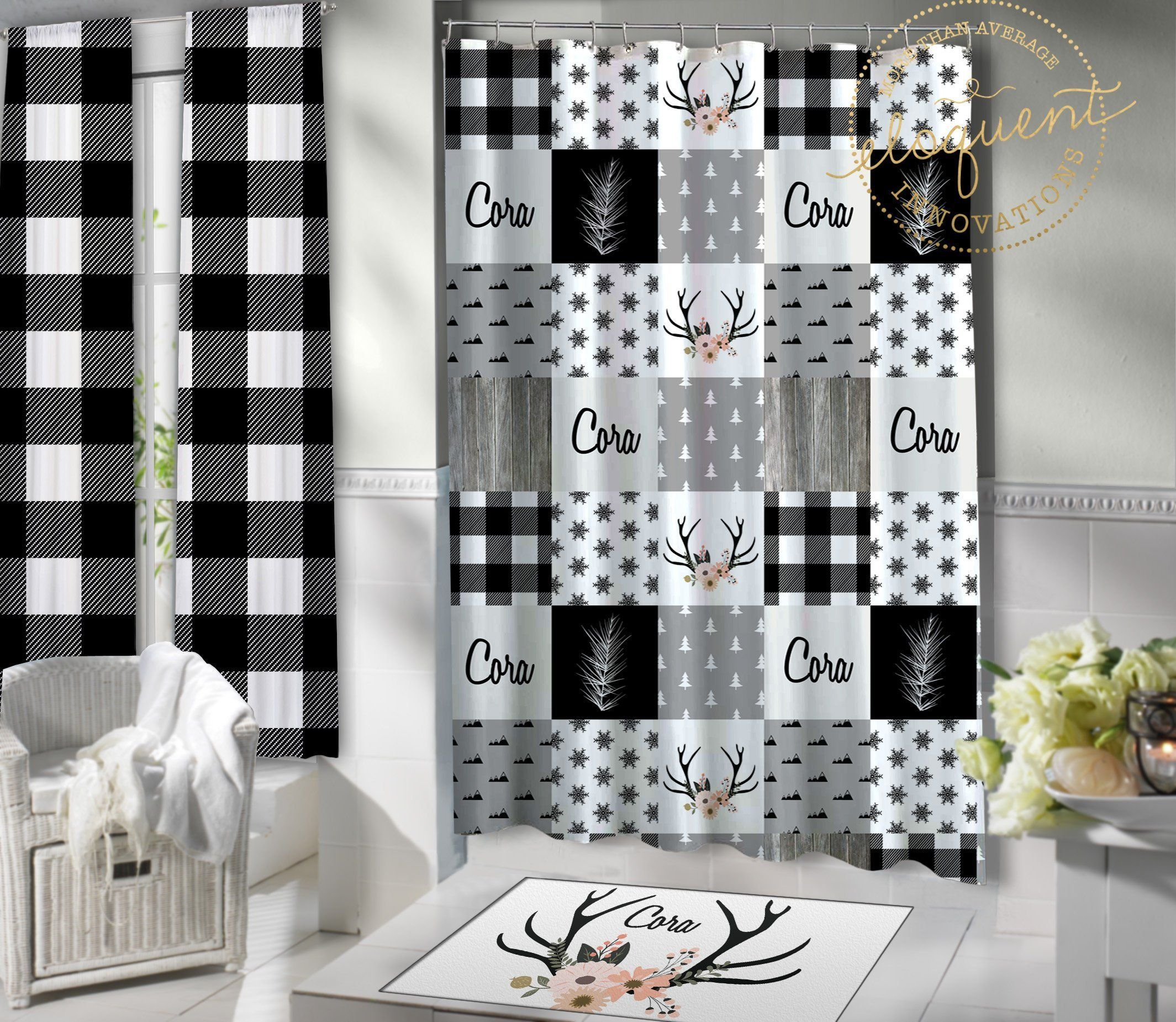 Woodland Shower Curtain Fabric Kids Black And White Plaid