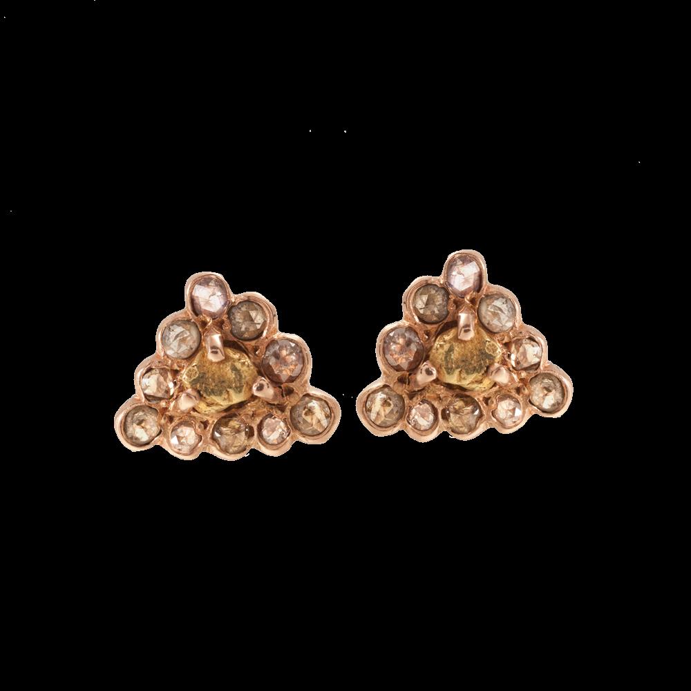 Blair Lauren Brown 14k Rose Gold Autumn Diamond Haloed Nugget Earrings W 22