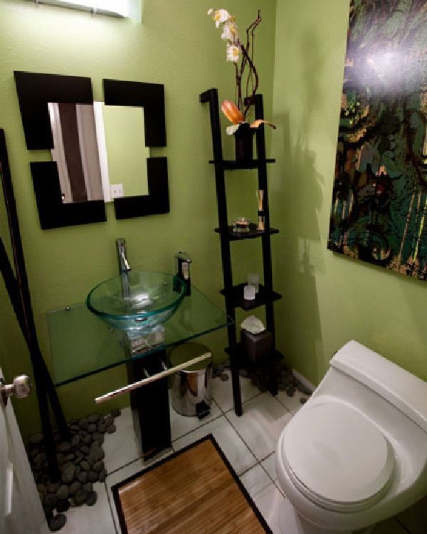 black and green small bathroom storage and painting | mint chocolate