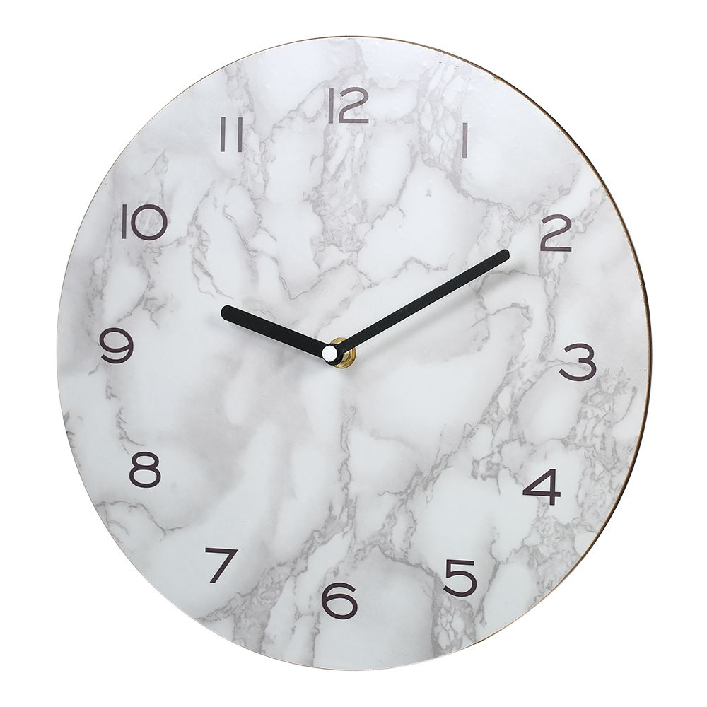 Marbled Effect Wall Clock Home Decoration Neat Precise Hanging Clock Timer Rounded Wall Clock Morden Design Easy To Install Wall Clock Clock Wall Clocks Living Room