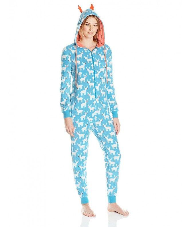 4af31d3255c7 Women s Micro Fleece Polka Dot One Piece Pajama - Blue White - CM12MAWAPRA