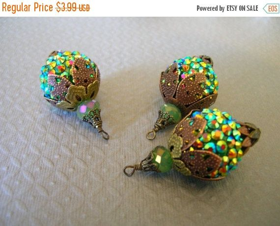 sale BD276 VINTAGE Style capped pendant dangle Sparkle Rhinestone Green/Blue Rainbow Bling Bead stacked aged beadcaps and crystal bead 1 pcs by pluffbeads on Etsy https://www.etsy.com/listing/87450613/sale-bd276-vintage-style-capped-pendant