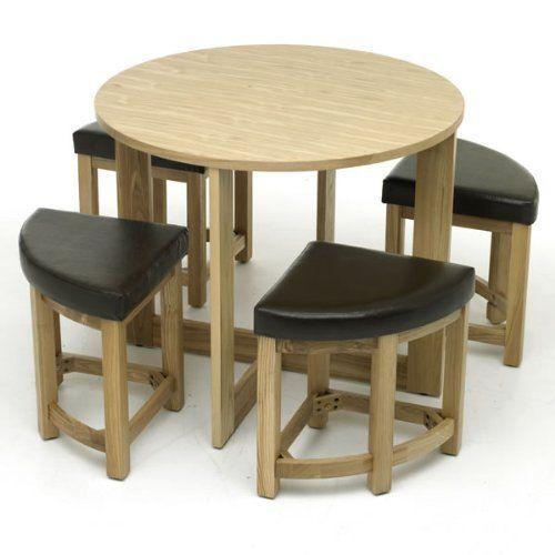 WorldStores - Juego de mesa redonda con 4 taburetes bajos (madera ...